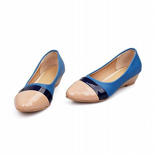 Carol Chaussures Chic Femmes Couleurs Assorties Brassard Charmant Doux Talon Bas Talon Mocassins Chaussures Bleu + Orteil Abricot