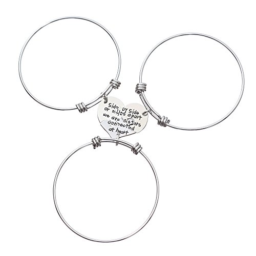 lauhonmin 3pcs Sister Expandable Bangle Bracelets - Side by side or miles apart we are sisters connected at heart