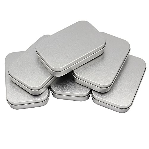 Hysagtek 6 Pcs Tin Box Containers Metal Tin Containers Mini Portable Tin Box Rectangular Empty Tins Can Box for Sewing, Beads, Crafts Geocache Storage or Storage Survival Kit, 3.7x2.4x0.79 Inch, Silve