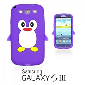 OnlineBestDigital - Penguin Style Soft Silicone Case for Samsung Galaxy S3 III I9300 - Purple with 3 Screen Protectors and Stylus