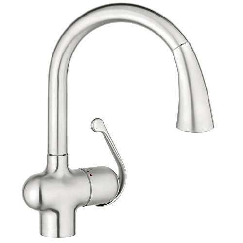 Ladylux Spray Head - Grohe 33755SD1 Ladylux Cafe Single-Handle Pull-Down Kitchen Faucet, RealSteel