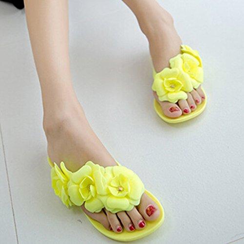 MagiDeal Zapato Plano de Mujeres Sandalias de Bohemia Zapatillas de Playa de Vacaciones 5 Colores y 6 Tallas Amarillo
