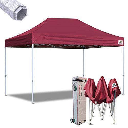 (Eurmax 10x15 Ft Premium Ez Pop up Canopy Instant Canopies Shelter Outdoor Party Gazebo Commercial Grade Bonus Roller Bag (Burgundy))