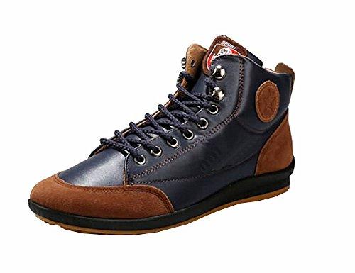 2015 Herbst Lederstiefel Knöchel Absatzschuh Winter-Herrenmode casual Sneakers plus Samt warmen Baumwolle 39-42 marineblau