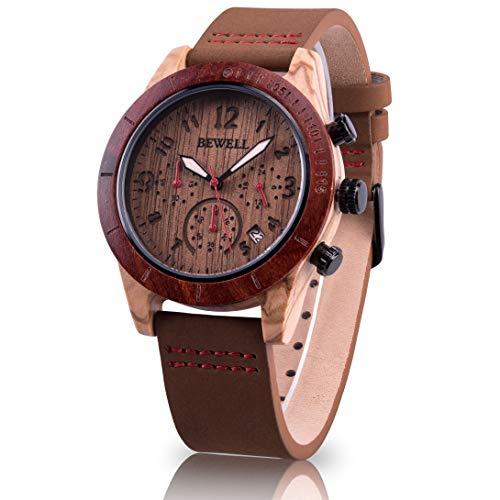 57e707e177 Bewell 木製腕時計 メンズ 日付 クロノグラフ機能 カジュアル 革バンド アナログ腕時計 夜光 クオーツウォッチ