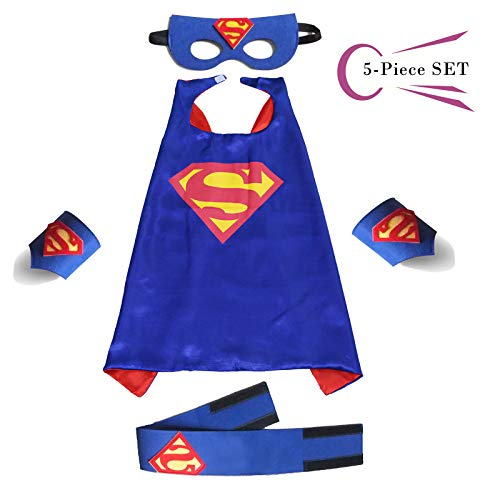 Superhero Dress Capes Set for Kids - Child DIY Superhero Themed Birthday Halloween Party Dress up 5-Pack Set (Superman)