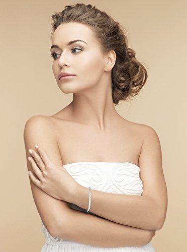 Petits Merveilles D'amour - Bracelet Femme - Argent Fin 925/1000 plaqué platine 3mm Oxyde de Zirconium Tennis Bracelet