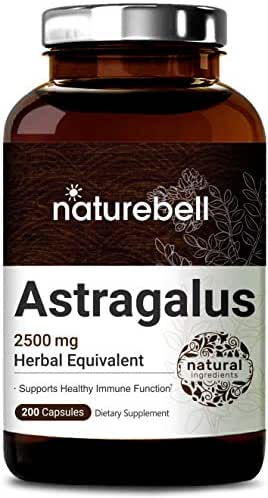 NatureBell Astragalus 2500mg Herbal Equivalent, 200 Capsules, Supports Healthy Immune System, No GMOs and Made in USA