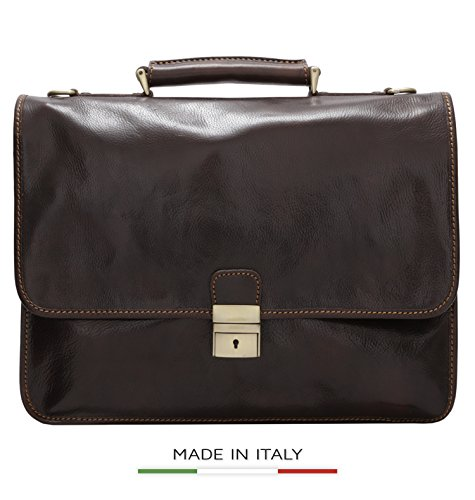 Luggage Depot USA, LLC Men's Alberto Bellucci Italian Leather Double Gusset D. Brn Laptop Messenger Bag, Dark Brown, One Size by Luggage Depot USA, LLC