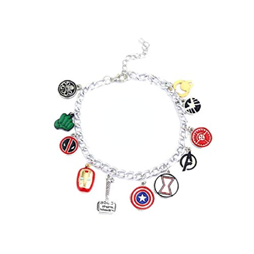 Ooh La La Jewels And Beyond Stylish Silver Superhero Charm Iron Man Batman Thor Wonder Woman Spiderman Fashion Chain Bracelet -