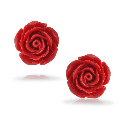 Bling Jewelry Silver Plated Rose Flower Stud Earrings 10mm Photo #4
