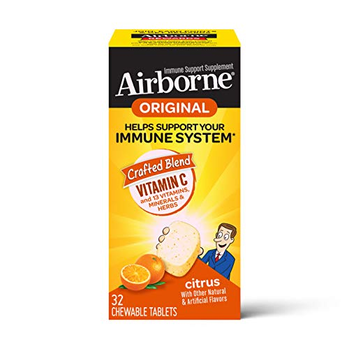 Vitamin C 1000mg – Airborne Citrus Chewable Tablets (32 count in a box), Gluten-Free Immune Support Supplement and High in Antioxidants, Packaging May Vary