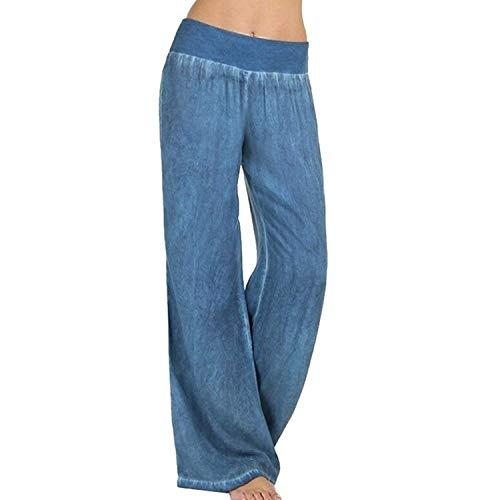 Elastica Pantaloni Lunga Baggy Costume Fashion Tempo Femminile Autunno Tendenza Blu Base Donna Cintura Pantaloni Libero Larghi Elegante Pants Accogliente rqzwrPE