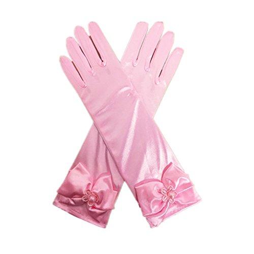 DreamHigh Kids Stretch Satin Long Finger Gloves for Flower Girl Children Party Pink
