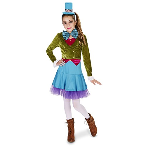 [Lime Green & Blue Mad Hatter Tween Dress Up Costume 0-3] (Mad Tea Party Costume)