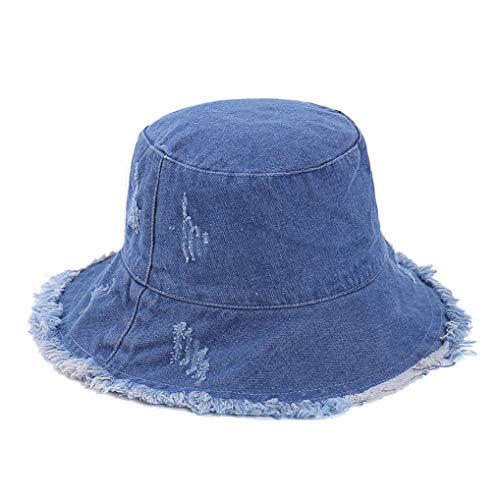 Denim Bucket-Hat Distressed-Fisherman Foldable - Outdoor Sun Protection Beach Cap