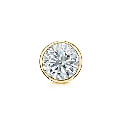 18k Yellow Gold Bezel-set Round Diamond Men SINGLE STUD Earring - Diamond Studs 1 Si2 And Carat 2 H