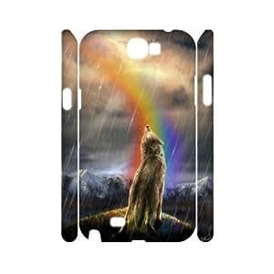 DIY High Quality Case for Samsung Galaxy Note 2 N7100 3D, Rainbow Wolf Phone Case - HL-R671921