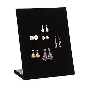 F&U Jewelry Frame Velvet Earrings Holder Earring Display Stand Display Shelf Show Case Organizer Tray (Black)
