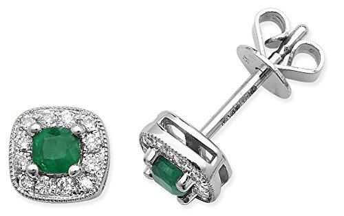 Diamant 0,15ct et 0,25carats émeraude Coussin Stud Boucles d'oreilles or blanc 9ct