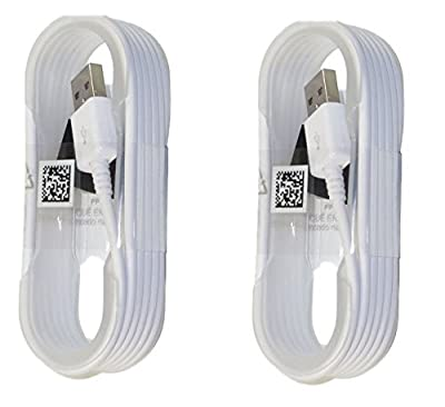 Two (2) New Samsung OEM 5-Feet Micro USB Data Sync Charging Cables for Galaxy S6/S6 Edge/S6 Edge+/S7/S7 Edge/Note 4/5/Edge - Non-Retail Packaging - White