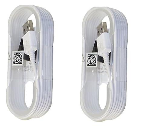 2 cables de carga Samsung, pieza del fabricante original, de 1,5 m de longitud, cable micro USB de sincronización de datos para Galaxy S6/S6 Edge/S6 Edge+/S7/S7 Edge/Note 4/5/Edge, color blanco