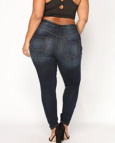Delgado Tamaño Flaco Agujero Ocio Pantalones Gran Jeans Elástico Vaqueros Estilo Azul Rotos rrq6p