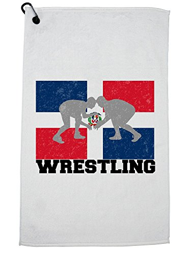 Hollywood Thread Dominican Republic Olympic - Wrestling - Flag Golf Towel with Carabiner Clip by Hollywood Thread