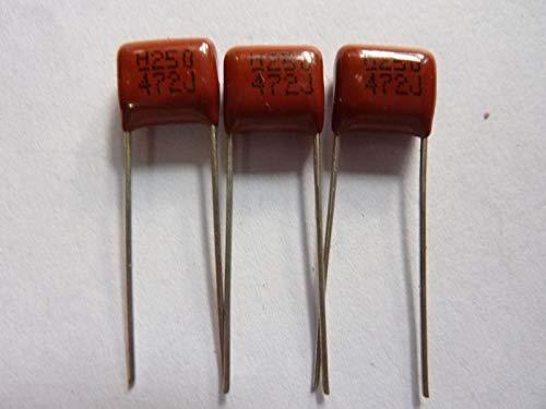 FidgetFidget 100pcs 250V 472 J 4.7nf 4700pf P8 CL21 CBB Metal Film Capacitor