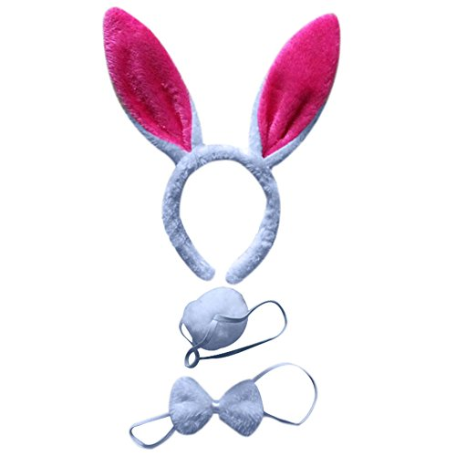 Make A Bunny Tail Costume (BAOBAO 3pcs Kids Rabbit Bunny Ears Headband Bow Ties Tail Set Party Cosplay Costume)