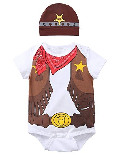 Paddy Field Baby Girls Boys Cowboy Costume Bodysuit (0-3 Months, Cowboy) -