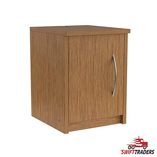 Simple Lines and Contemporary Styling Edna Single-Door Nightstand in Chestnut with Security Seal Strip Included