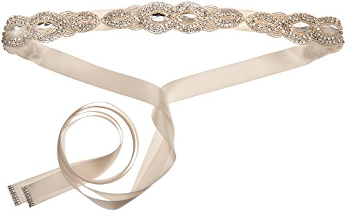 Nina Women's Rubyn Crystal Satin Bridal Belt, Ivory, One Size