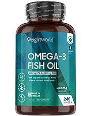 Omega 3 fiskolja 2000 mg - 240 mjuka omega 3 kapslar (räcker upp till 4 mån) – 660 mg EPA & 440 mg DHA, främjar huden, synorganen och hjärtat hos både män och kvinnor, rik på fleromättade fettsyror