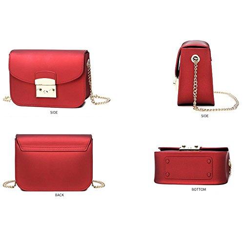 Square tracolla Casual Wild Donna Piccola Moda Catena Red a Borsa Silicone Pvc 1TKcJ3lF