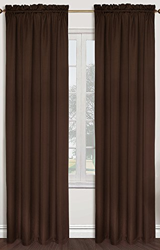 United Curtain Sterling Woven Window Curtain Panel, 40 by 84-Inch, Chocolate (Stripe Ascot Valance)