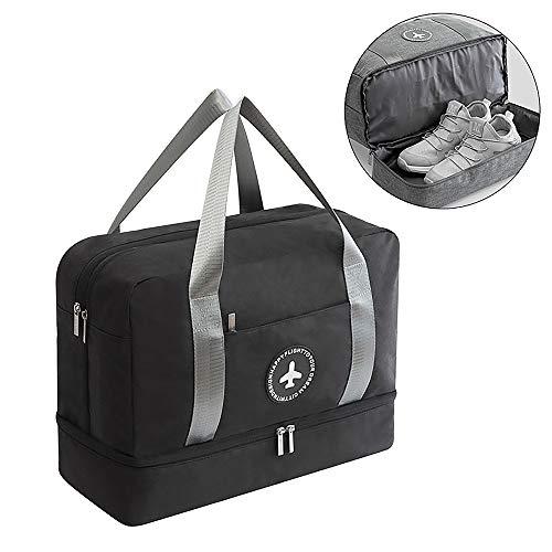 fccb2c54027 HOKEMP Waterproof Gym Bag with Shoe Compartment Swim Bag Travel Weekender  Dry Wet Depart Mesh Tote Bag for Men Women (Black)