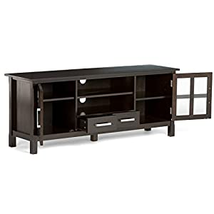 "Simpli Home Kitchener Solid Wood TV Media Stand for TVs up to 66"", Dark Walnut Brown"