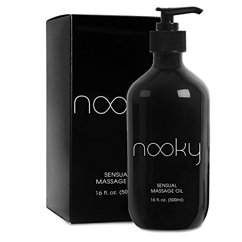 Nooky Massage Oil with 100% Premium Natural Ingredients. Relaxing Essential and Sweet Almond Oils for Sensual Massaging 16oz (Sensual Lotion Massage)