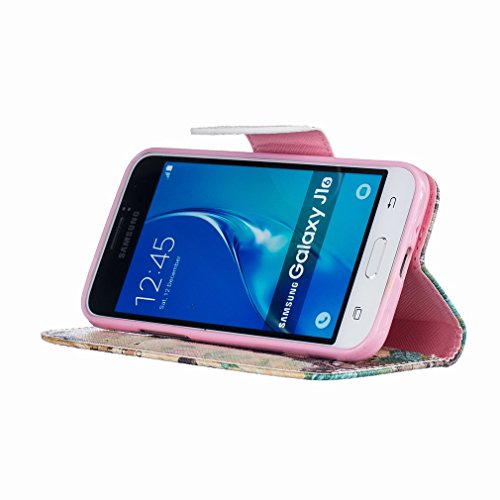 Yiizy Samsung Galaxy J1 (2016) J120 Funda, Torre De Transmisión Diseño Solapa Flip Billetera Carcasa Tapa Estuches Premium PU Cuero Cover Cáscara Bumper Protector Slim Piel Shell Case Stand Ranura par