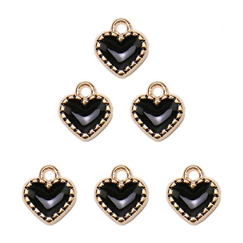 JETEHO 100 Pcs Colorful Heart Charms Mixed Pendants Charms for Crafting Smooth Tibetan Silver Bulk Charms DIY for Jewelry Making