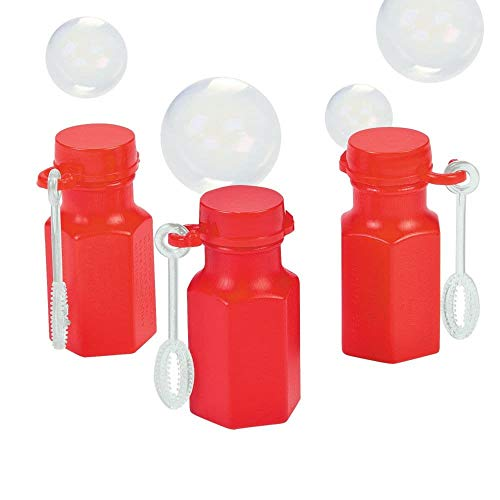 Fun Express Mini Hexagon Red Bubble Bottles (4 Dozen) -