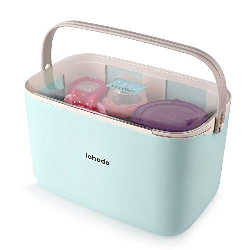 (Baby Bottles Storage Box | Portable Feeding Bottle Organizer | Large Nursing Bottles Holder Containers | Infant Bottle Accessories Countertop Drying Rack | Travel Bottle Dryer with Dustproof Cover)