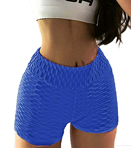 COLO Womens High Waisted Shorts Workout Yoga Tummy Control Ruched Butt Fitness Shorts Sport Workout Running Shorts Bottom Peach Blue(XL)