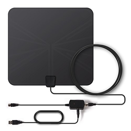 Digital TV Antenna, Paxcess HD TV Antenna Indoor Amplified Flat TV Antenna, Leaf Antenna 50 Miles Range with Signal Amplifier Booster, USB Power Supply, 165ft Coax Cable for Local Free TV (Black)