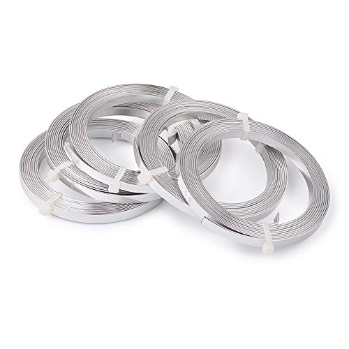 - Pandahall 5Rolls 2M/2Yards/6Feet 5x1mm Gauge 18 Aluminum Flat Bezel Wire Artistic Wrapping Cuff Wire Soft Jewlery Beading Making Silver
