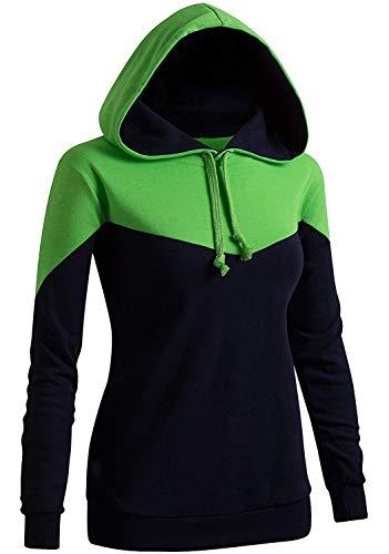 mamak Women's Casual Hoodie Two-Tone Raglan Pocket Long Sleeve Hoodie(Kwohol033_Green-US XL + / Tag XXL)
