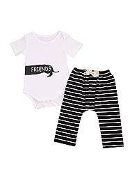 2Pcs Infant Baby Girl Boy Twins Best Friend Short Sleeve Romper+Striped Pants Outfit