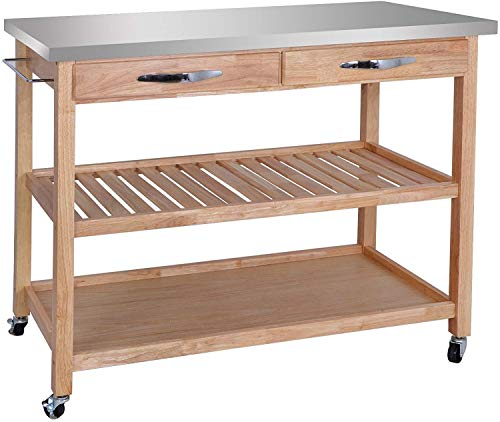 SUPER DEAL Zenchef Rolling Kitchen Island Utility Kitchen Serving Cart  w/Stainless Steel Countertop, Spacious Drawers and Lockable Wheels, Natural  ...