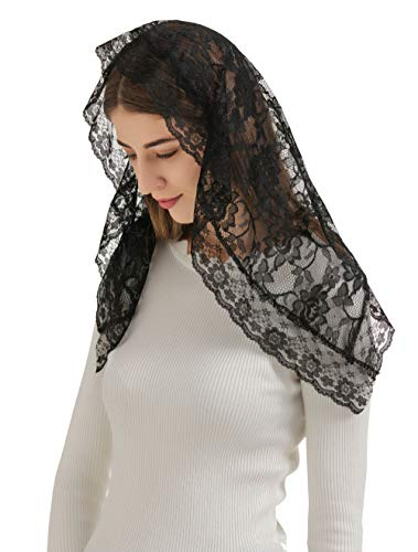 Pamor D Shape Veil Lace Mantilla Chapel Veil Head Covering Latin Mass Scarf with Free Hairclip - Veil Scarf